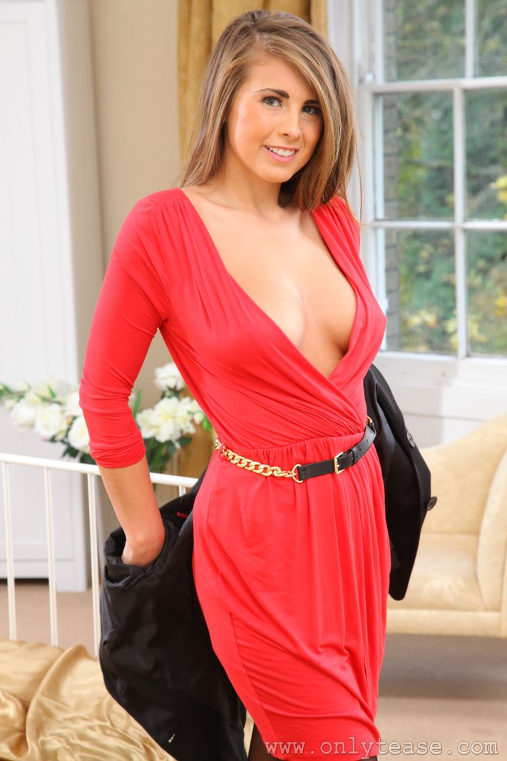 Only Tease Sarah James - Busty Secretary Sarah Slips Off Red Dress and Shows Nice ...