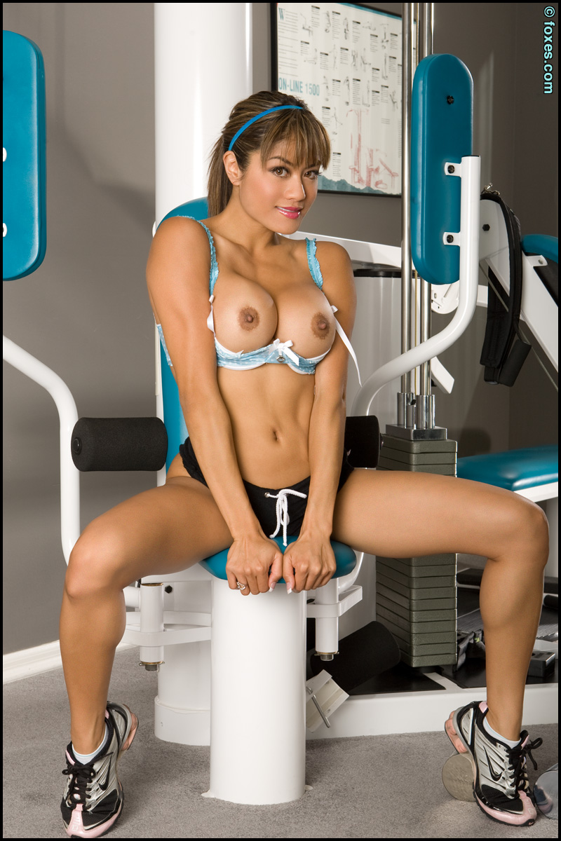 Jayd Lovely Busty Asian Fitness Model Working Out At The -7485