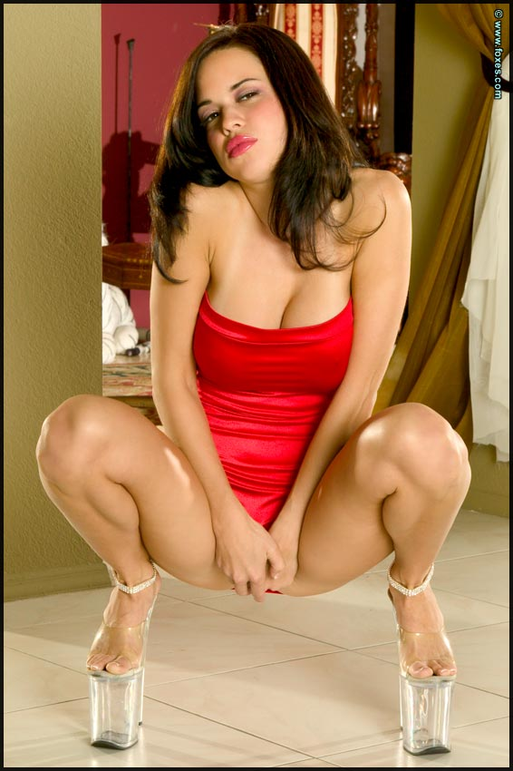 Ashley Payton in a Tight Red Dress
