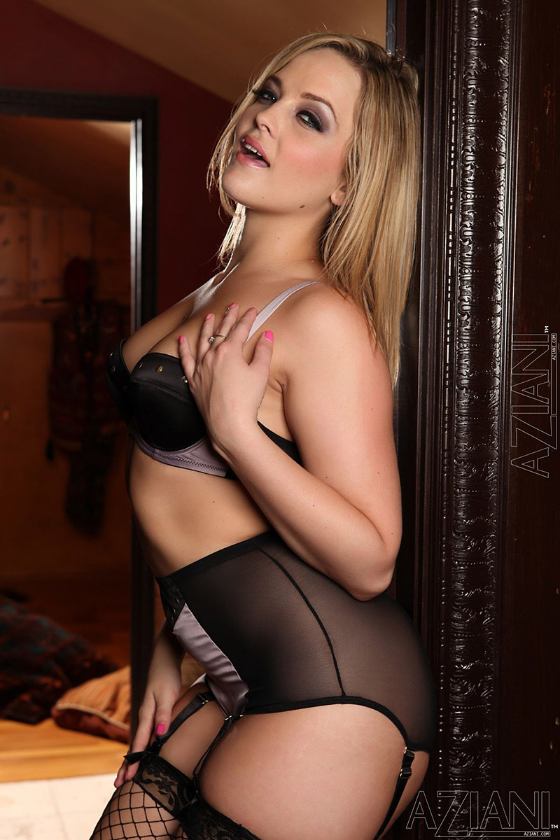 Alexis Texas Sexy Satin Lingerie and Black Fishnet Stockings