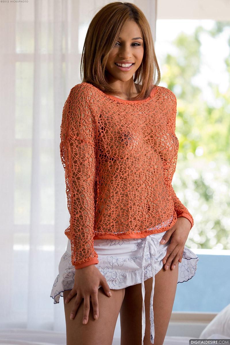 Naja Irie Frees Big Ebony Breasts from Net Top