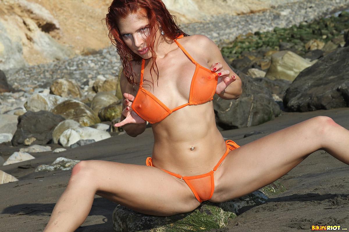 Erika Jordan Fiery Redhead in Orange Bikini