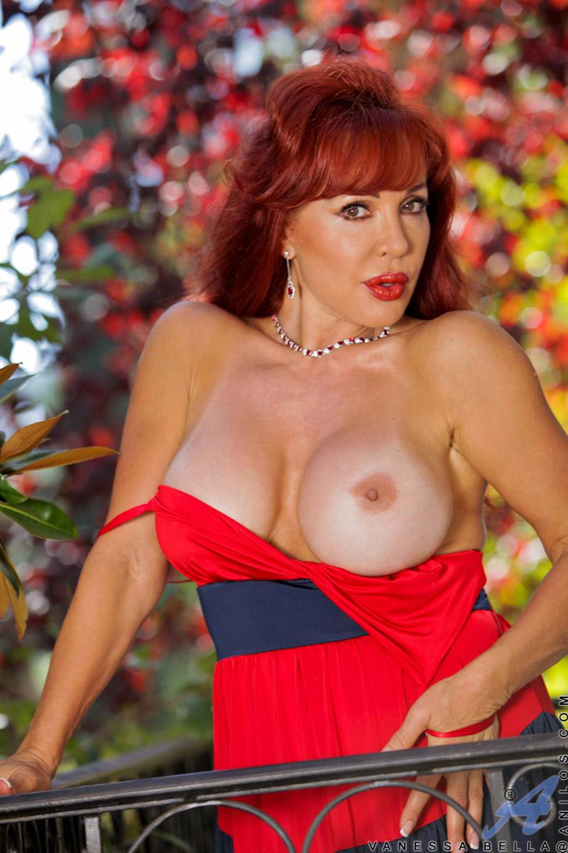 Vanessa Bella Big Boobs Latina Redhead with a Dildo