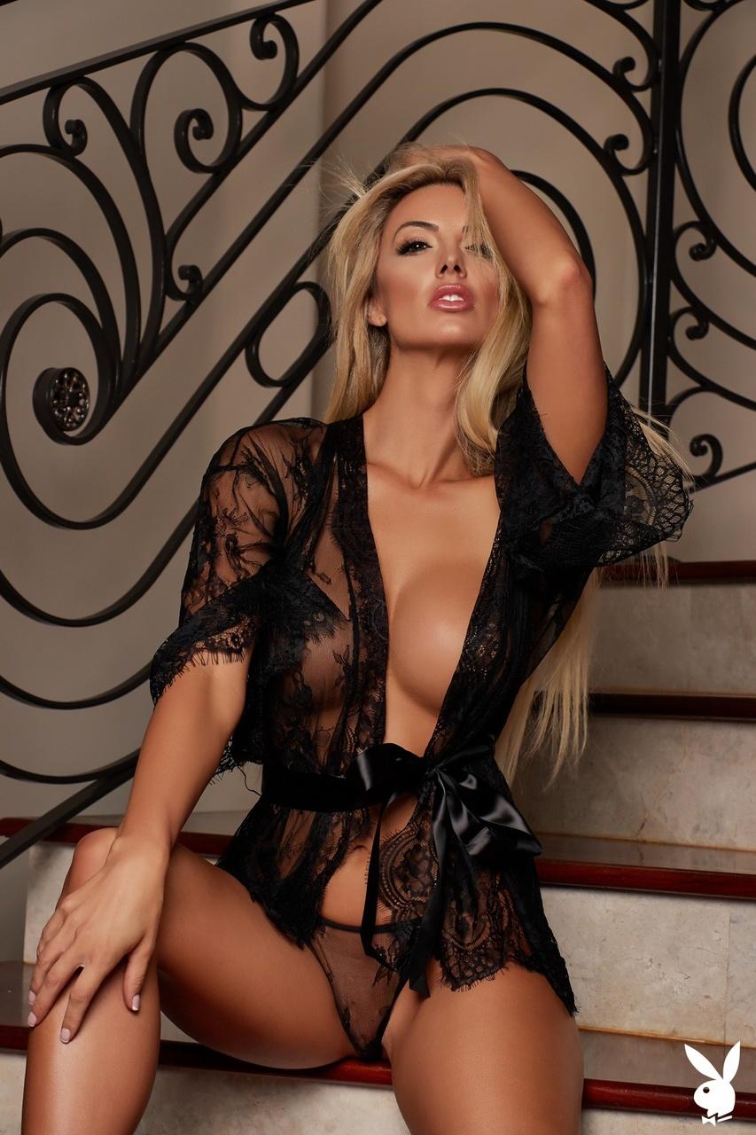 Bethany Giura Busty Blonde In Black Lingerie