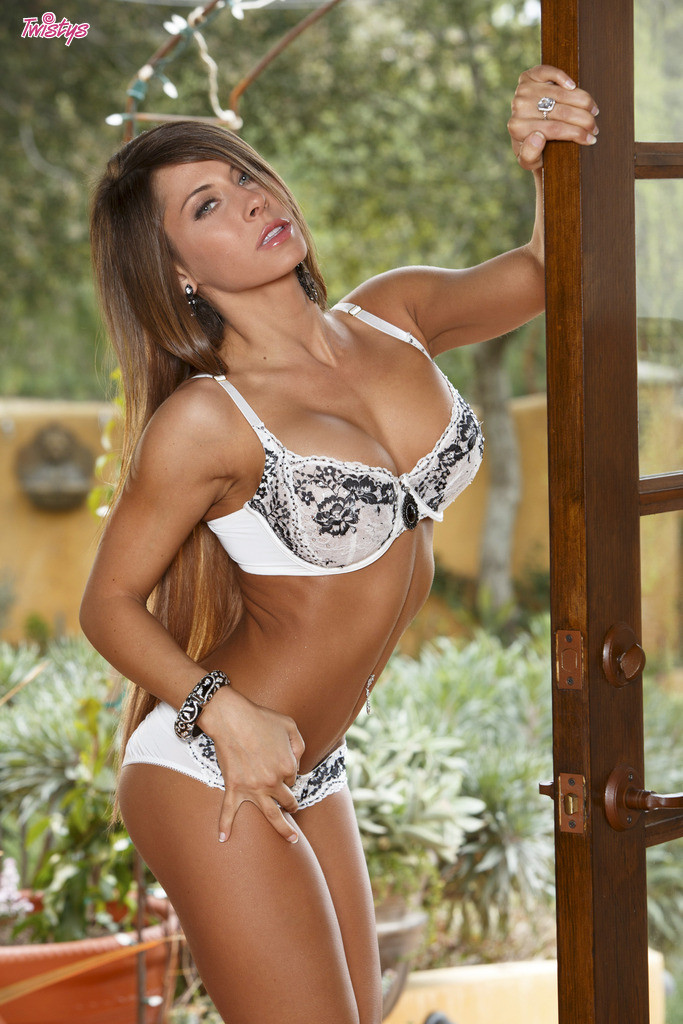 Madison Ivy Busty Brunette Strips Bra and Panties
